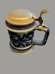 ANTIQUE STUDIO POTTERY GERMAN BEER LIDDED STEIN BLUE DECORATED STONEWARE FLORAL $45.00