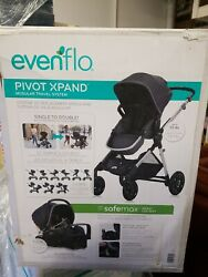 Evenflo Pivot Xpand Modular Travel System with Safemax Infant Car Seat Roan Grey $299.99