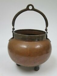 Vintage Hand Made Footed Moroccan Copper Bucket with Handle Large $116.99