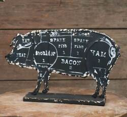 Butcher#x27;s Pork Pig Chart Sign Embossed Metal Farmhouse Country Kitchen $34.95