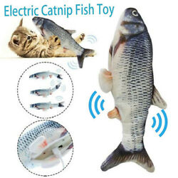 USB Floppy Moving Fish Cat Toy Realistic Interactive Dancing Wiggle Catnip Toys $7.48