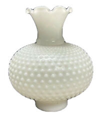 Milk Glass Hobnail Hurricane Lamp Vintage Shade 8 1 4quot; Tall with 3quot; Fitter EUC $25.13