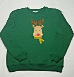 Rebecca Malone Womens Christmas Reindeer Sweatshirt Size Small Rudolph Red Nose $18.00