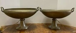 Pr Art Deco Machine Age Antique Lamps UPLIGHTS Aluminum Mantle OVAL Baskets $199.95