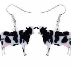 Womens Cow Cows Animal Novelty Funny Silver Hook Earrings UK Birthday Gift GBP 4.00