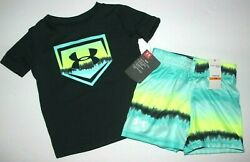 Baby Boys 12M Under Armour 2 pc set outfit T shirt Shorts heatgear Turquoise $32 $16.95