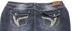 Ariya Jeans Womens Low Rise Curvy Skinny Blue Jeans Size 24 Stretch Embroidered $24.99