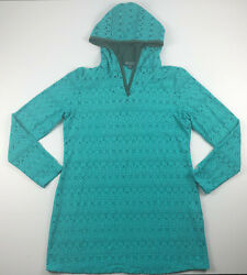 Title Nine Womens Swim Bathing Suit Cover Up Dress Hooded Teal Size Medium $48.99
