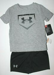 Baby Boys 12M Under Armour 2 pc set T shirt Shorts Gray Black heat gear $32 $16.95