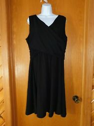Lands End Womens Black Plus 1X Wrap Front Fit n Flare Knit Dress LE271
