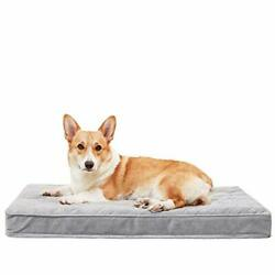 Orthopedic Dog Bed Removable Cover Crate Dog Bed L 35 x 22 x 3 Grey silk $48.44