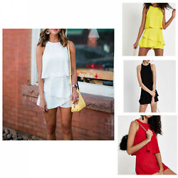 Jumpsuit Shorts Sexy Polyester Sleeveless Ruffle Party Women Party Bodycon Skirt $14.99