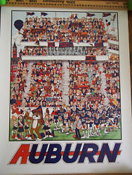 ORIGINAL Vintage College Football Litho Auburn Holladay