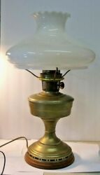 Vintage ALADDIN Brass Oil Lamp Electrified with Whte Glass Shade wood base $37.50
