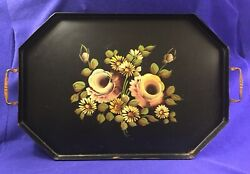 Large Octagonal Vintage Tole Painted Black Metal Tray with Handles $35.00