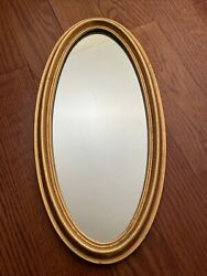 Vintage Wall Mirror Gold Gilt Frame Narrow Oval $45.00