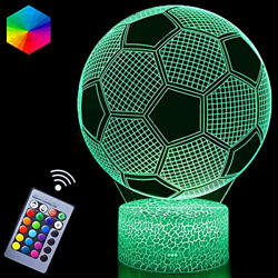 3D Soccer Night Lights Illusion LED Lamps Remote Controller USB Powered RGB for $30.24