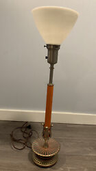 REMBRANDT Masterpiece Vintage BRASS LAMP with Shade Orange HOLLYWOOD REGENCY $109.99