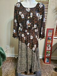 ANTHROPOLOGIE FIG amp; FLOWER Floral Leopard Print Peasant Boho Dress Sz M $25.00