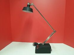 Vintage Desk Lamp Transformer Powered Black Silver Folding Adjustable Industrial $19.99