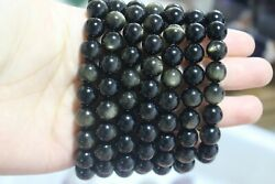 7pcs Natural quartz bracelets gold obsidian crystal beads $33.50