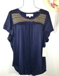New Women#x27;s Summer Blue Embroidered Boho Tunic Peasant Top Blouse 3X NWT $29.95