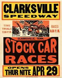 Vintage Antique Auto Races Racing 1950#x27;s style POSTER Clarksville Tennessee $19.99