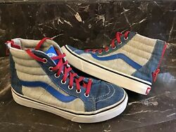 vans off the wall kids size 3 high tops lace up blue gray shoes $19.99