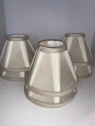 6 Cream And Beige AnColor Chandelier Clip On Mini Lamp Shades $39.00