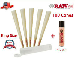 Authentic RAW Classic King Size Pre Rolled Cones 100 Pack amp; Clipper Lighter Free $15.75