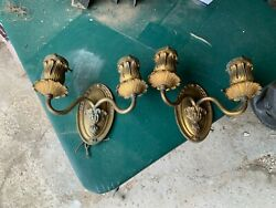 Antique Pair French Edwardian Bronze Wall Sconce Torch Sconces Lights $350.00