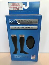 Pair BLACK Moderate Compression MENS Knee High Support SOCKS 15 20 MMHG size XL $11.99