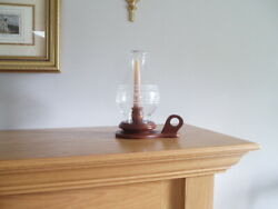 Vintage Hurricane Candle quot;Home Sweet Homequot; Globe With Wooden Base 9.75 inches $26.99