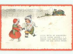 Pre Linen Christmas KIDS WALKING WITH GIFT PACKAGES AB5372 C $2.41