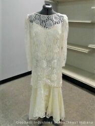 Vintage Wedding Dress Silk and Lace Slip Style With Corset MC $13.99