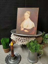PRIMITIVE VICTORIAN VINTAGE COLONIAL STYLE OLD WOMAN LADY QUAKER CANVAS SIGN $14.50
