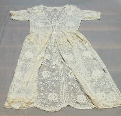 P O L Womens Size M L Ivory Embroidered Sheer Lace Cover Up 2 Button Dress B4 50 $10.95