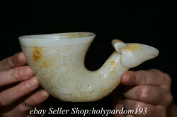 6quot; Old Chinese White Jade Carved Dynasty Beast Cup Drinking vessel Statue $83.60