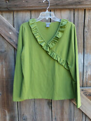 Ann Taylor Size XL Stretchy Green Top With Neckline Ruffles $17.99