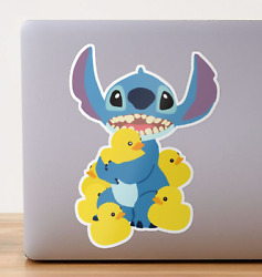 Stitch and Rubber Ducks Funny Vinyl Wall Bumper Bottle Phone Decal Decor Sticker $4.99