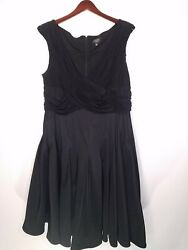 Adrianna Papell Womens Dress Black Sleeveless Pleated Vneck Party Plus Size 22W $25.19