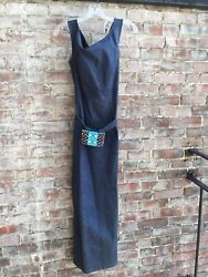 WOMENS DRESS LONG JEAN DRESS BY MUSE WITH REAR SLIT AND WAIST PURSE W ZIP 8 $19.99