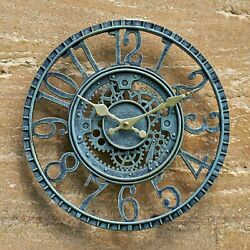 LARGE OUTDOOR GARDEN WALL CLOCK BIG GIANT OPEN FACE METAL BATTERY OPERATED GBP 19.95