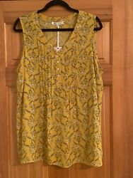 NWT ROSE amp; OLIVE Yellow Floral Pintuck Sleeveless Blouse Top Womens Size 1x $32.99