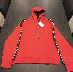 HUNTER FOR TARGET MENS HOODED SWEATER RED WITH BLACK DETAIL SLIM FIT SIZE MEDIUM $40.00