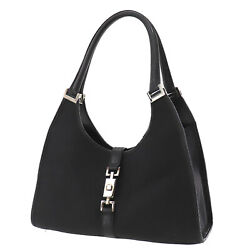 GUCCI Logos Jackie Used Hand Bag Black Silver Canvas Leather Authentic #AE202 O $284.05