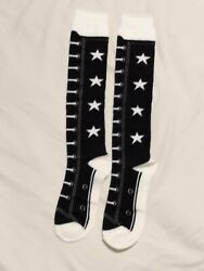 All Star Socks. Knee High Mock High Tops. Ladies Black and White Boots. GBP 5.99