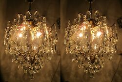 A Pair Antique Vnt Real Swarovski Cage Style Crystal Chandelier Lamp 1950s 15quot;in GBP 600.00