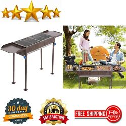 Outdoor Kitchen Charcoal Portable BBQ Grill Huge For Shish Kebab Stainless Steel $93.89