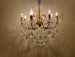 Antique Vintage Italian Chandelier Brass amp; Crystals Huge with 8 Arms Ceiling Lam $950.00